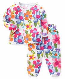 ToffyHouse Full Sleeves Night Suit Floral & Butterfly Print - Multicolor
