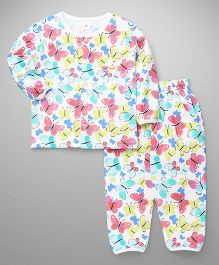 ToffyHouse Full Sleeves Night Suit Butterfly Print - Multicolor