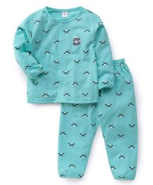 ToffyHouse Full Sleeves Night Suit Printed - Sea Green