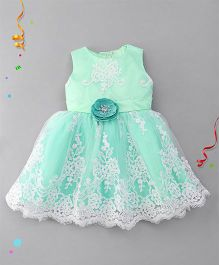 Bluebell Sleeveless Party Wear Frock With Floral Applique - Green