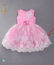 Bluebell Sleeveless Party Wear Frock With Floral Applique - Pink