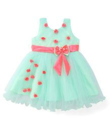 Bluebell Sleeveless Party Wear Frock With Rosette - Green