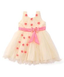 Bluebell Sleeveless Party Wear Frock With Rosette - Fawn