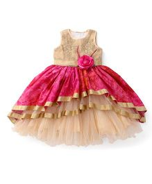 Bluebell Sleeveless Layered Ruffled Partywear Frock - Pink & Beige