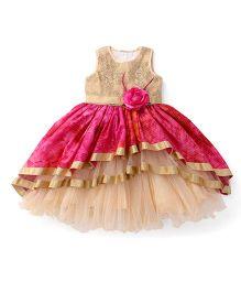 Bluebell Sleeveless Layered Ruffled Partywear Frock - Pink & Beige