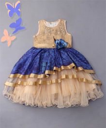 Bluebell Sleeveless Layered Ruffled Partywear Frock - Blue & Beige