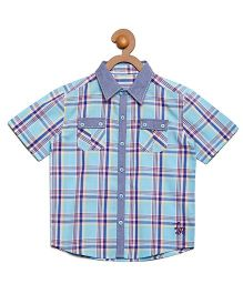 Litl Hopkins Half Sleeves Checkered Casual Shirt - Blue