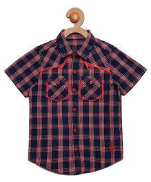 Litl Hopkins Checkered Half Sleeves Casual Shirt - Navy Blue Red