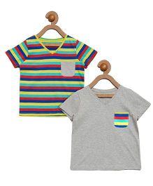 Litl Hopkins Half Sleeves Striped Tee 2 Piece Set - Grey Multicolor