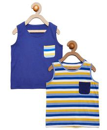 Litl Hopkins Sleeveless Solid & Striped Tee Pack Of 2 - Blue