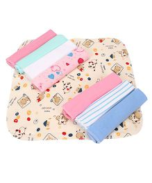 Babyhug Wash Clothes Printed Pack of 8 - Cream Multicolor