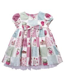 ToffyHouse Puff Sleeves Frock Cupcake Print - Multi Color