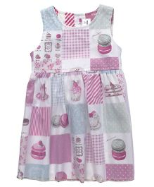 ToffyHouse Sleeveless Frock Cupcake Print - Pink Green