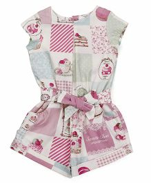 ToffyHouse Short Sleeves Jumpsuit Cupcake Print - Pink White Green