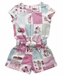 ToffyHouse Short Sleeves Jumpsuit Cupcake Print - Pink Green