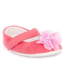 Pikaboo Velvet Booties With Floral Applique - Pink