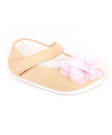 Pikaboo Velvet Booties With Floral Applique - Beige Pink