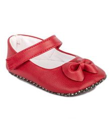 Pikaboo Booties With Bow Applique - Red