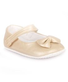 Pikaboo Booties With Bow Applique - Beige