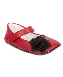 Pikaboo Booties With Bow Applique - Red Black