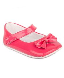 Pikaboo Booties With Bow Applique - Pink