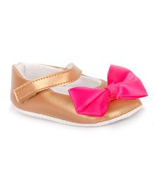 Pikaboo Booties With Bow Applique - Bronze Pink