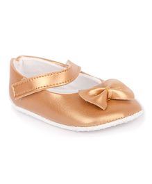 Pikaboo Booties With Bow Applique - Bronze
