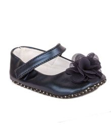 Pikaboo Booties With Floral Applique - Navy