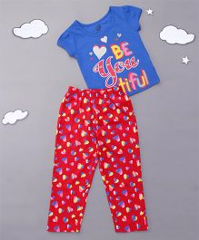 Tambourine Glitter Print Night Suit - Blue & Red