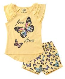 Tambourine Butterfly Print Night Suit With Shorts - Yellow