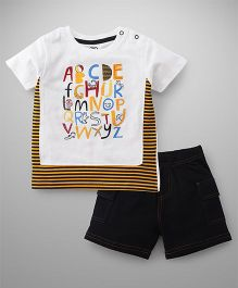 Tambourine Alphabet T-Shirt & Shorts Set - White