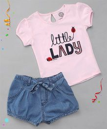 Tambourine Little Lady Top & Denim Shorts Set - Pink