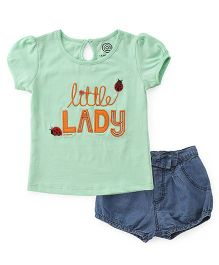 Tambourine Little Lady Top & Denim Shorts Set - Green