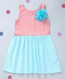 CrayonFlakes Knit Dress With A Flower - Peach & Turquoise