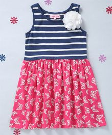 CrayonFlakes Stripes Dress With A Flower - Navy Blue & Fuchsia