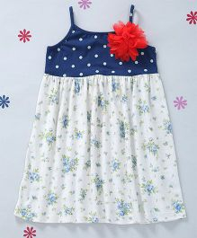 CrayonFlakes Printed Dress With Attached Flower - Navy Blue & White