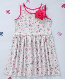 CrayonFlakes Flower Print Knit Dress - Light Green & Pink