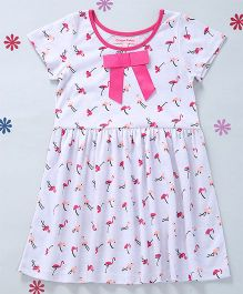CrayonFlakes Bird Print Dress With Short Sleeves - White & Pink