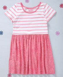 CrayonFlakes Short Sleeves Knit Dress - Peach