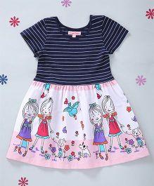 CrayonFlakes Girl Print Dress - Navy Blue