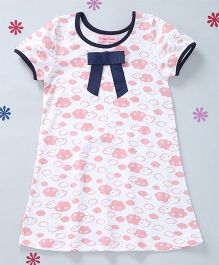 CrayonFlakes Printed Dress With A Bow - White