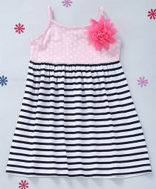 CrayonFlakes Stripes With Polka Knit Dress - Pink & Black