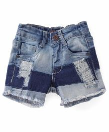 Vitamins Ripped Style Shorts - Blue