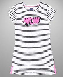 Vitamins Short Sleeves Top Stripes Print - Black White