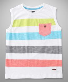 Vitamins Sleeveless Stripes T-Shirt - White