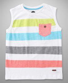 Vitamins Sleeveless Stripes T-Shirt - White