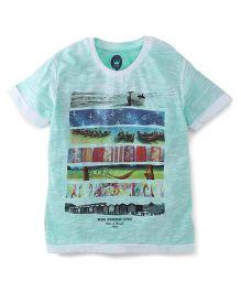 Vitamins Half Sleeves T-Shirt Multi Print - Green