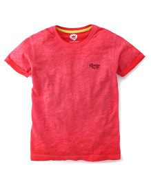 Vitamins Half Sleeves Plain T-Shirt - Red