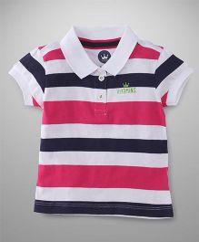 Vitamins Half Sleeves T-Shirt Stripes Print - Blue Pink