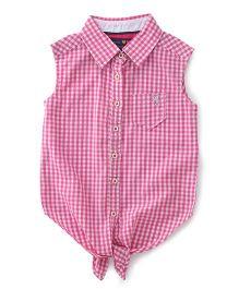 Vitamins Sleeveless Shirt Checks Pattern - Light Pink